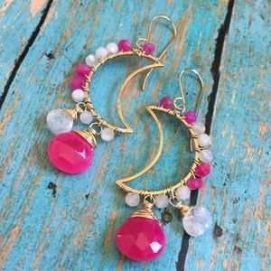 Pink moon earrings fuschia chalcedony